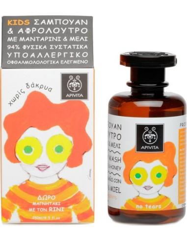 Apivita Kids Σαμπουάν & Αφρόλουτρο Με Μανταρίνι & Μέλι 250ml - 5201279070380