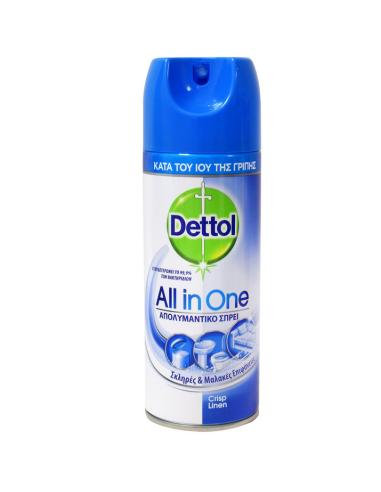 Dettol All In One Crisp Linen Απολυμαντικό Σπρέι 400ml - 5208070000042