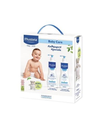 Mustela Baby Care Set Καθημερινή Φροντίδα Gentle Cleansing Gel + Body Lotion + ΔΩΡΟ Musti Αρκουδάκι - 5200398502956